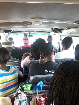 Taxi wars in South Africa -  Passengers packed inside a taxi