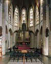 interieur, overzicht koor met hoofdaltaar van h. van der geld en glas in loodramen - cuijk - 20341915 - rce