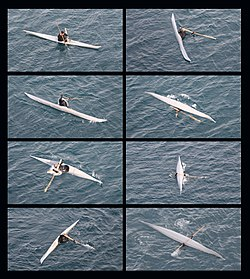 Inuit man demonstrates traditional kayaking technique used for hunting on narwhals photo-montage.jpg