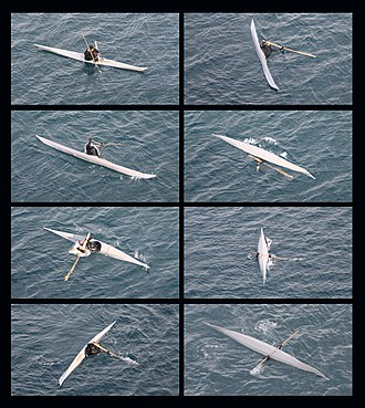 Kayak roll - A demonstration of rolling as part of a traditional technique for hunting narwals.