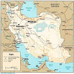 1976 Tehran UFO incident - Map of Iran and surrounding countries, showing Tehran and Hamadan, where two F-4 jet interceptors were launched