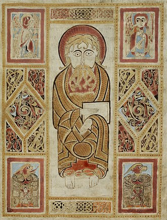 Evangelist portrait - Insular, 8th century, now St Gall. Unusually, a single unspecified Evangelist with all four symbols