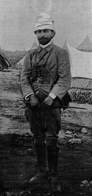 "Enver Pasha - Enver Bey in Libya during the Italo-Turkish War, 1911–12, wearing the style of hat named ""Enveriye"" after him."