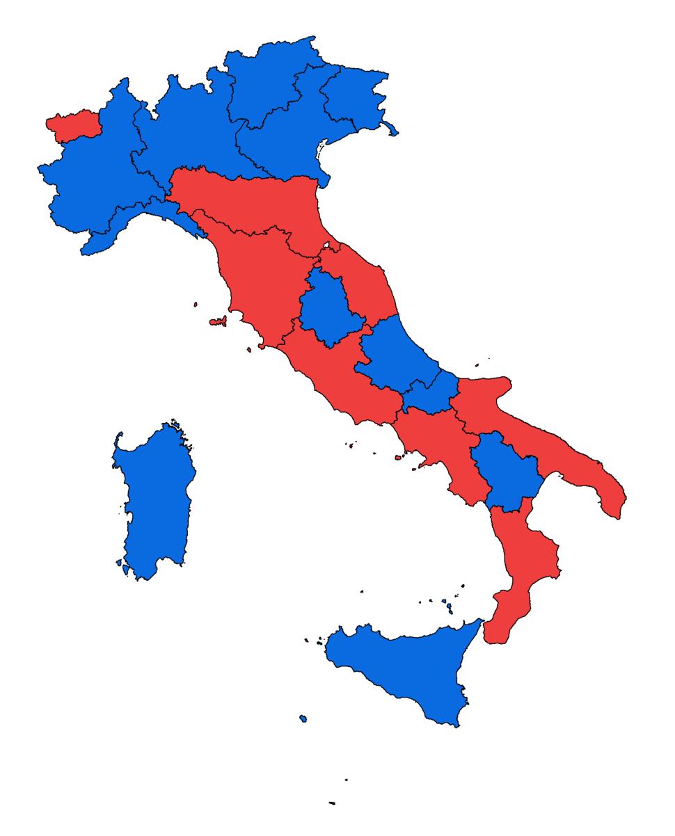 Italian Regions by coalition