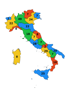Regions of Italy - Number of senators currently assigned to each Region.