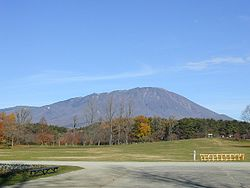 View of Mount Iwate from Koiwai farm park