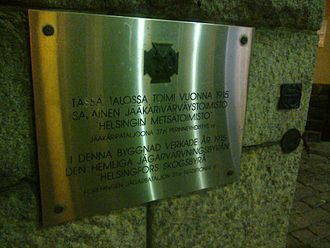 "Jäger Movement - A plaque at Liisankatu 17 in Helsinki: 'The secret Jäger recruitment centre ""Helsinki Forest Bureau"" operated in this building in 1915.'"