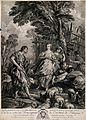 Jacob arrives among the shepherds of Haran; he falls in love Wellcome V0034257.jpg