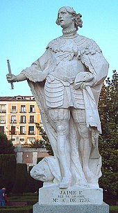Statue of James I at the Sabatini Gardens in Madrid (J. León, 1753).