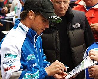 James Ellison (motorcyclist) - James Ellison signing autographs during the 2009 BSB championship at Snetterton
