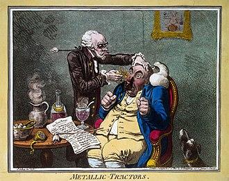 Elisha Perkins - Metallic Tractors. Caricature of a quack treating a patient with Perkins Patent Tractors by James Gillray, 1801