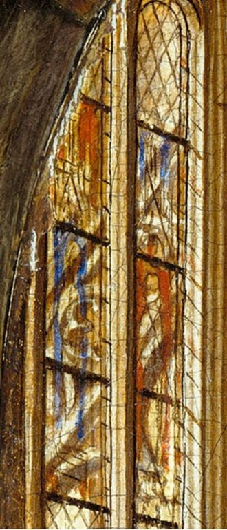 Madonna in the Church - The furthermost stained-glass window at the top left of the panel
