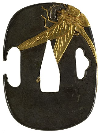 Insects in literature - Japanese tsuba with a dragonfly, 1931: Shibuichi with gold and silver, Walters Art Museum