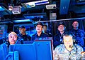 Japanese Maritime Self-Defense Force Vice Adm. Yasushi Matsushita, the commander in chief, and Vice Adm. Ikeda Tokuhiro, the commander of the Fleet Escort Force, watch a presentation during a visit to the guided 140228-N-NE138-5205.jpg