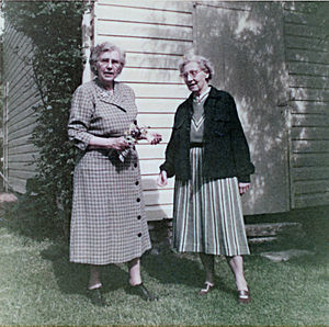 "Jessie Taft - Jessie Taft with lifelong companion Virginia Robinson in May, 1954 by their home, ""The Pocket"", in Flourtown PA."