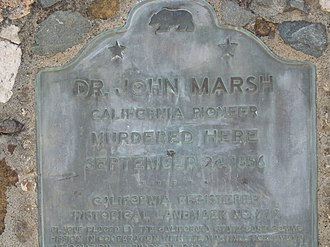John Marsh (pioneer) - Plaque marking the site of his murder