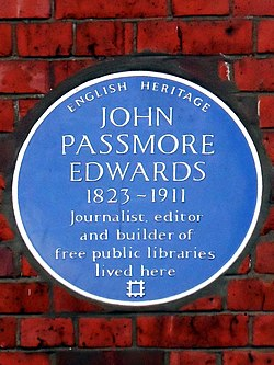 John passmore edwards 1823 1911 journalist editor and builder of free public libraries lived here