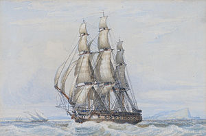 John Ward of Hull - A large frigate under full sail beating across the bay at Gibraltar...etc.jpg