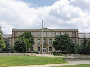 Upper Arlington, Ohio - Jones Middle School, located on the former site of Camp Willis. The building, which terminates the mallway at the center of the Historic District, was designed by Ohio Stadium architect Howard Dwight Smith and served as the first permanent school in Upper Arlington upon its completion in 1924.