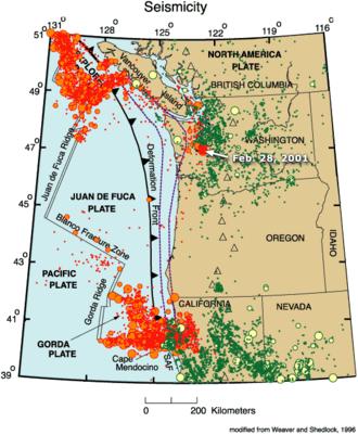 Gorda Ridge - Seismic events near the Gorda Ridge.