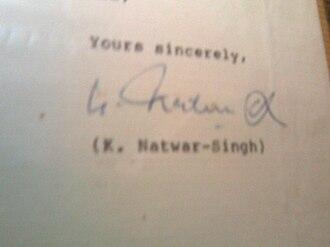 Natwar Singh - Image: K. Natwar Singh