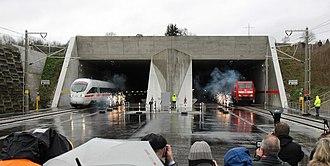 Karlsruhe–Basel high-speed railway - Inaugural run through the Katzenberg Tunnel with an ICE and a freight train (4 December 2012)