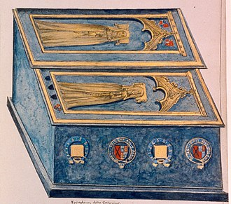 John of Gaunt - 1640 drawing of tombs of Katherine Swynford and daughter Joan Beaufort, Countess of Westmorland in Lincoln Cathedral
