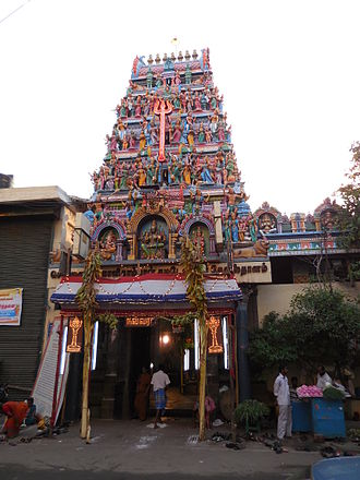 George Town, Chennai - Kāligāmbāl Temple's Gopuram (Gateway tower) entrance. The Marāthi, Chatrapathi Shivāji is said to have visited this temple.