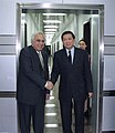 Kapil Sibal and his Chinese counterpart, Mr. Xu Guanhua shaking hands after signing an MoU on cooperation in the field of science and technology in Beijing on September 07, 2006 (1).jpg