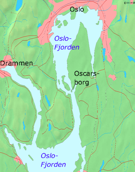 Map of Oslofjord with Oscarsborg Karte Oscarsborg.png