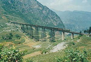 Shanghai–Kunming Railway - The Guiyang-Kunming Railway crossing the Kedu River near Liupanshui, Guizhou.
