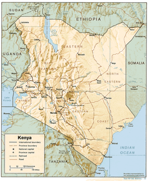 Demographics of Kenya - A map of Kenya.