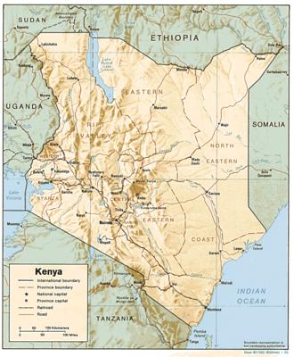 Demographics of Kenya - A map of Kenya.