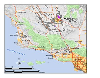 Kern River Oil Field - The Kern River Oil Field (purple) in south-central California. Other oil fields are shown in gray.