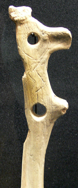 Discovery of human antiquity - Palaeolithic pierced baton spear thrower from Kesslerloch cave, Thayngen, Switzerland.