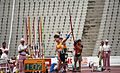 Kieran Modra throwing javelin, 1992 Paralympics.jpg