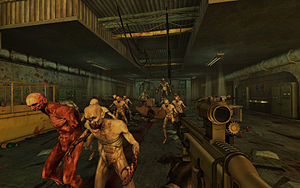 Computer graphics - A screenshot from the videogame Killing Floor, built in Unreal Engine 2. Personal computers and console video games took a great graphical leap forward in the 2000s, becoming able to display graphics in real time computing that had previously only been possible pre-rendered and/or on business-level hardware.