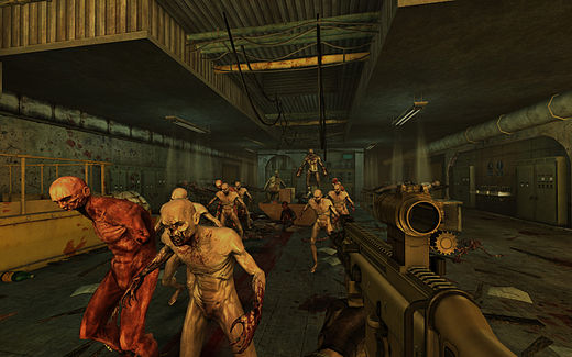 A screenshot from the videogame Killing Floor, built in Unreal Engine 2. Personal computers and console video games took a great graphical leap forward in the 2000s, becoming able to display graphics in real time computing that had previously only been possible pre-rendered and/or on business-level hardware. Killing Floor Biohazard1.jpg