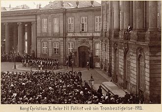 Christian X of Denmark - Christian X addressing the people when he acceded the throne