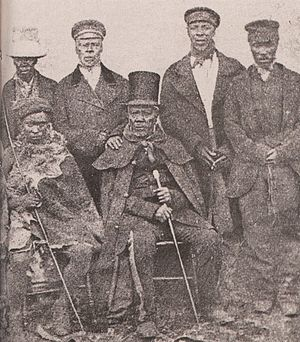 King Moshoeshoe of the Basotho with his ministers