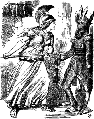 Power projection - A John Tenniel in Punch showing Britannia threatening the Abyssinian Emperor Tewodros II over his imprisonment of several missionaries and British government representatives