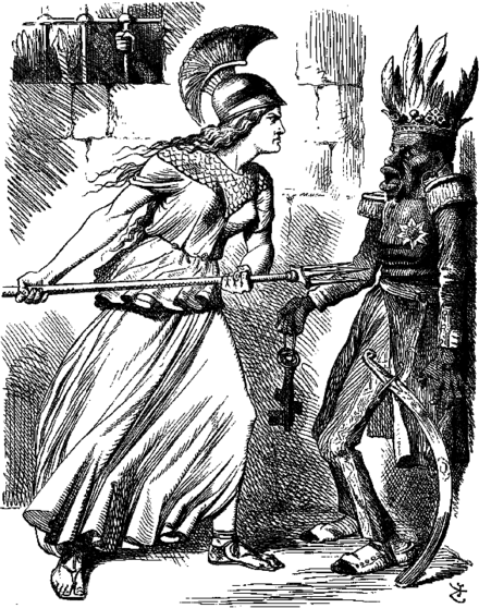 A John Tenniel in Punch showing Britannia threatening the Abyssinian Emperor Tewodros II over his imprisonment of several missionaries and British government representatives
