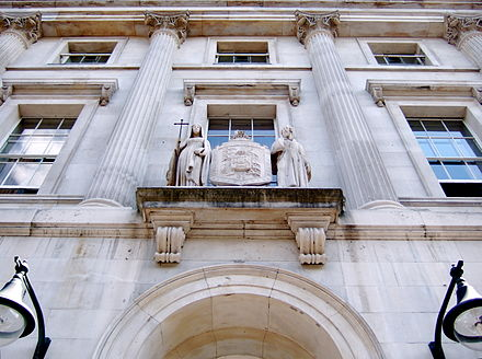 Entrance and coat of arms of the 19th century King's Building, Strand Campus Kingsbuilding.jpg