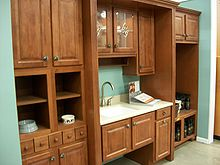 Picture Of Kitchen Cabinet Setup In A Home Center Store.