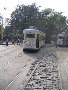 Tram rolling towards the camera