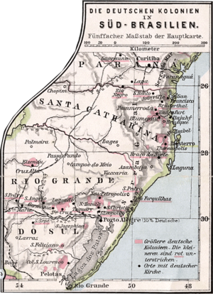 South Region, Brazil - Areas of German settlement in Southern Brazil (pink), in 1905