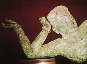 National Museum of Cambodia - The bronze statue of reclining Vishnu, West Mebon, Angkor (National Museum, Phom Penh).