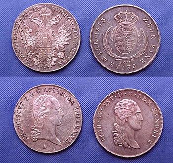 Konventionstaler fra 1822 (venstre) og fra 1813