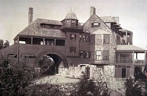 "Shingle style architecture - ""Kragsyde,"" Manchester-by-the-Sea, Massachusetts (1883-85, demolished 1929), Peabody and Stearns, architects."