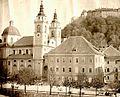 Kristijan Pajer - Škofija, stolnica in del Pogačarjevega trga 1890-2.jpg